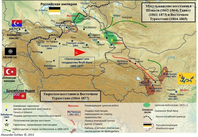 Мусульманские восстания в Шэньси, Ганьсу и Восточном Туркестане. Тюркское восстание в Восточном Туркестане