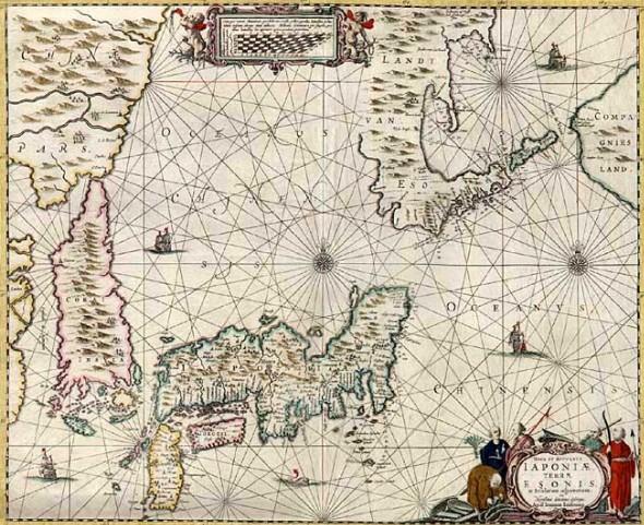 Карта Японии, Кореи и Японского моря. Середина XVII в.