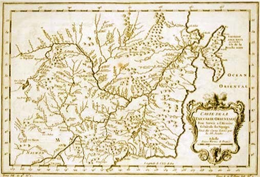 Восточная Татария. Карта Д`Анвиля, общий вид. 1737 г.