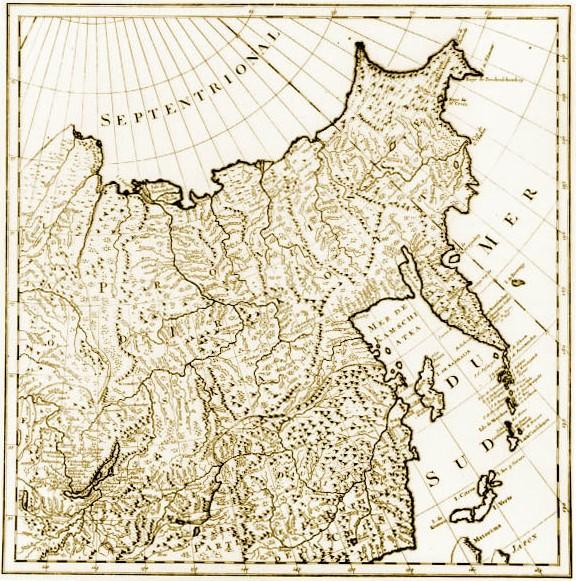 Карта восточных регионов Российской империи с изображением Приморья по образцу Д`Анвиля. 1745 г.